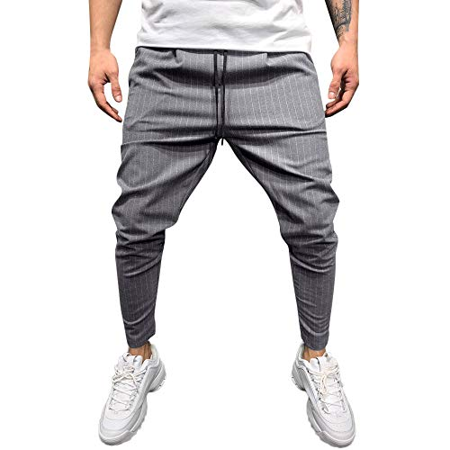 ANJUNIE Active Sweatpant Men's Casual Solid Trousers Loose Stripe Jogger Pant with -