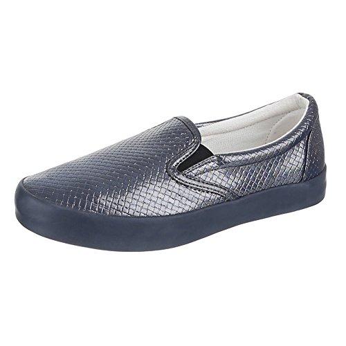 Ital-Design Damen Schuhe, IR-375, Halbschuhe Slipper Grau