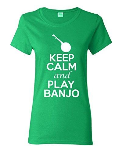 Play Irish Banjo (City Shirts Ladies Keep Calm And Play Banjo Music Lover DT T-Shirt Tee (XXX-Large, Irish Green))