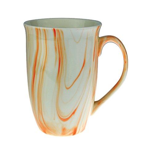 Mug - Marble Finish Ceramic Coffee Mugs 16 Ounce - Beautiful Hand Crafted Marble Finish Ceramic Stoneware Coffee and Tea Cup (Orange, 1)