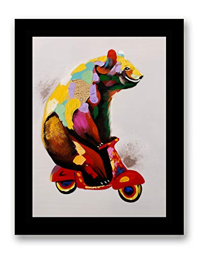Bear on Tiny Motorcycle Modern Pop Animal Art - Framed - Canvas Print Home Decor Desk Stand and Wall Art, Black Plastic Frame, - Tiny Framed