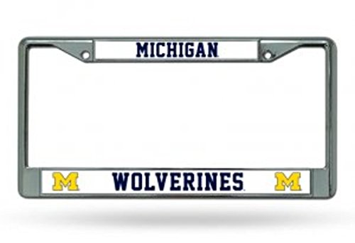 Rico Industries NCAA Michigan Wolverines Standard Chrome License Plate Frame