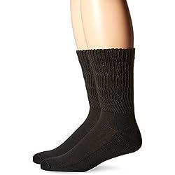 Dr. Scholl's Men's 2 Pack Non-Binding Diabetes and Circulatory Crew Socks, Black, Shoe Size: 13-15