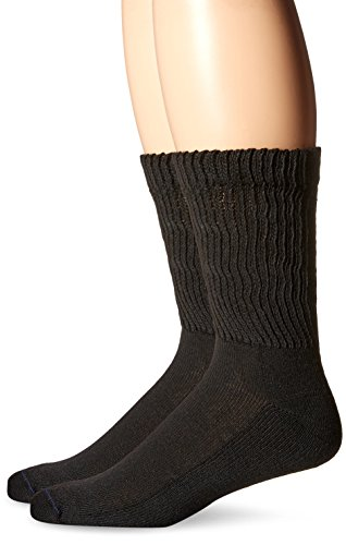 Dr. Scholl's Men's 2 Pack Non-Binding Diabetes and Circulatory Crew Socks,  Black, Shoe: 7-12