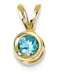 IceCarats 14k Yellow Gold 4mm Blue Topaz Bezel Pendant Charm Necklace Gemstone
