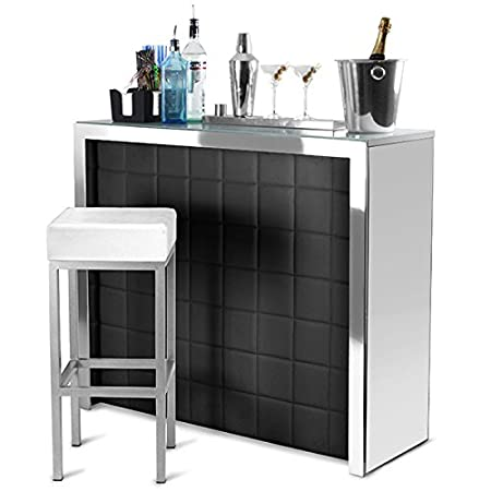 Hollywood Home Bar Counter With Black Faux Leather Front Mirror