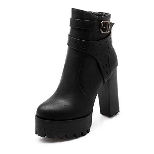 Leather Imitated Platform Chunky Buckle Girls Black Boots 1TO9 Heels g7YnX