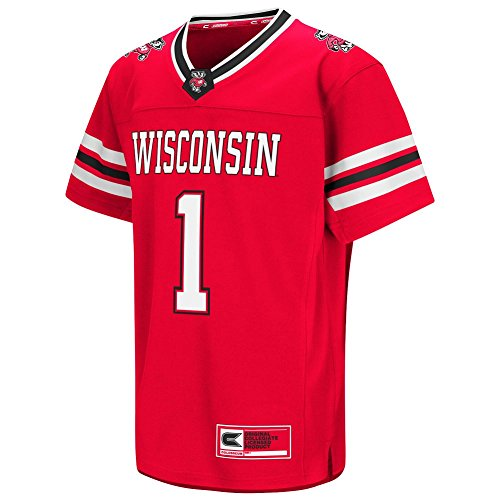 Colosseum Youth NCAA-Youth Hail Mary II Football Jersey-Wisconsin Badgers-Red-Youth Small