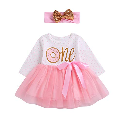 2Pcs Baby Girls Tutu Dress 1st Birthday Long Sleeve Stripe Donut Romper Top Lace Skirt with Headband Outfit Clothes (Pink & Donut, 12-18 Months)