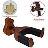 Guitar Hanger Auto Lock Holder Hook Guitar Wall Stand with Guitar Shape Hardwood Base Design Fits all size Guitars and String Instrument