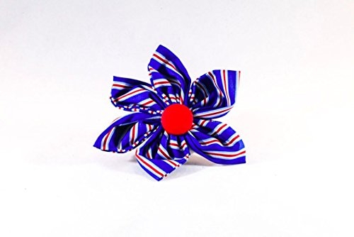 Preppy Red White and Blue Patriotic Stripes Girl Dog Flower Bow Tie Collar