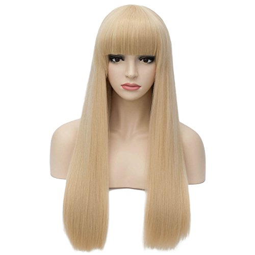 Aosler Women's Light Blonde Wig 26 inches Long Straight Costume Wig with Flat Bangs Heat Resistant Synthetic Cosplay Halloween Party Wigs for Girl ()