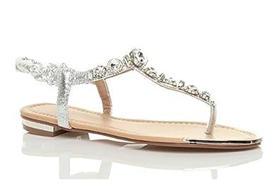 Ajvani womens low heel flat slingback gladiator t-bar gem toe post summer sandals