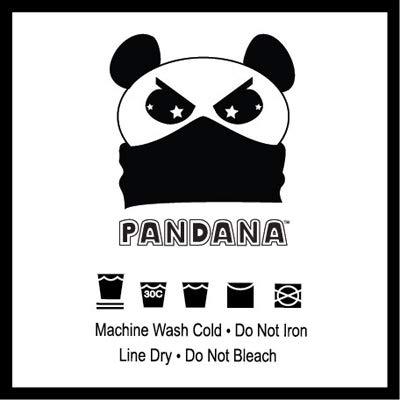 Panda Bear Pandana Seamless Microfiber Neck Tube Black with White Graphics