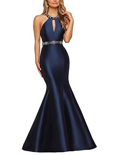 Halter Mermaid Evening Prom Dresses Floor Length Beaded Satin Formal Evening Gown Navy Blue,6