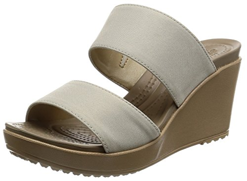 crocs Women's Leigh Ii 2-Strap W Wedge Sandal, Oatmeal, 6 M US