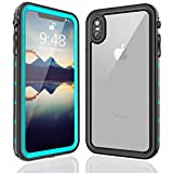FXXXLTF iPhone Xs Max Waterproof Case, Supporting Wireless Charging Full Body Protective Clear Case Built in Screen Protector, Shockproof Snowproof Case Design for iPhone Xs Max