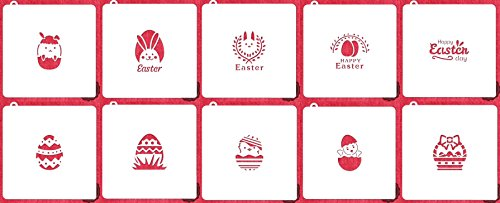 American Confections Easter Cookie Stencil Egg, Basket, Bunny - Set of 10