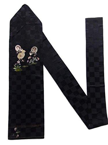 ポルノ魅了する膜アンティーク 名古屋帯 繻子 刺繍 野花とヒヨコ 正絹