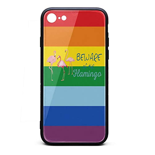 Phonerebey iPhone 7/8 Case,Beware of The Flamingo Anti-Scratch Shockproof Slim Cover Case Compatible with Apple iPhone 7/8 Case,TPU and Tempered Glass