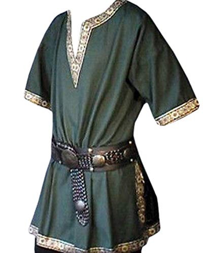 UZZE Mens Cosplay Costumes Summer Medieval Vintage Warrior Short Sleeves Tunic Tees Shirts Green]()