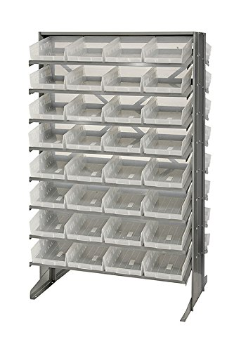 Quantum 64 QSB107CL Clear-View Bin Storage Sloped Shelving Double-Sided Pick Rack System 24