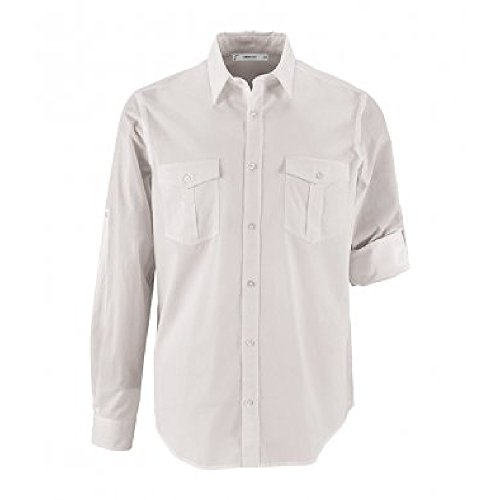Roll Sleeve Shirt - SOL'S Mens Burma Roll Sleeve Poplin Shirt (3XL) (White)