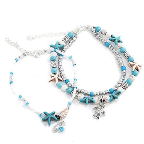 XIAOLI 2 Pcs Starfish Turquoise Ankle Beach Wedding Barefoot Sandals Bracelet Anklets