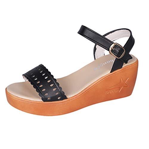 yesmile Plage Black Évider Sandales Compensées Chaussures Talons Mode De Romain Dames D'été Femme v474t