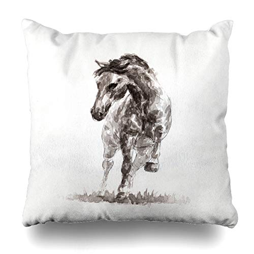 Ahawoso Throw Pillow Cover Pillowcase Square 16x16 Painting Silhouette Horse Mustang Realism Artwork On Artist Power Strong Canvas Paper Draw Motion Decorative Cushion Case Home Decor Pillowslip (Painting Silhouette Horse)