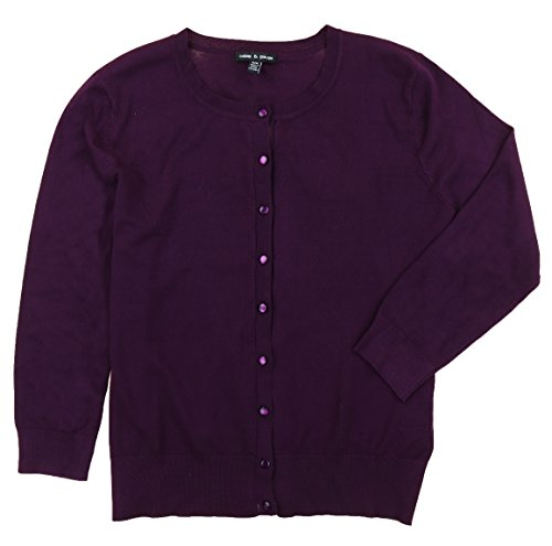 Cable & Gauge Women's Button Front Cardigan Sweater (XX-Large, Sweet Plum) (Gauge & Womens Cable)