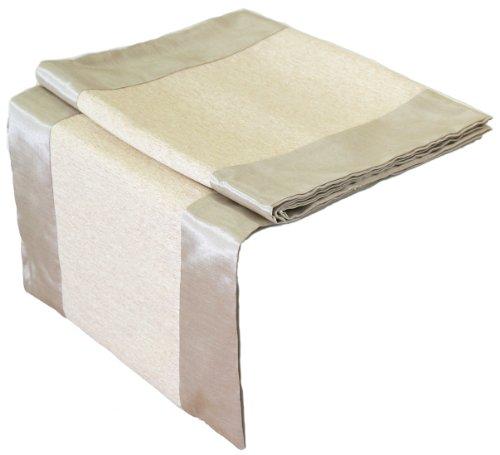 Artiwa Rectangle Silk Decorative Table Runner/Bed Runner Ivory & Cream 48 inch