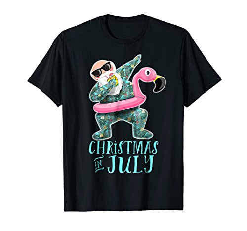 Funny Christmas in July Dabbing Santa Flamingo Party Shirt -