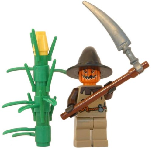 LEGO Scarecrow (Pumpkin King) - LEGO Halloween Minifigure with Scythe and Cornstalk