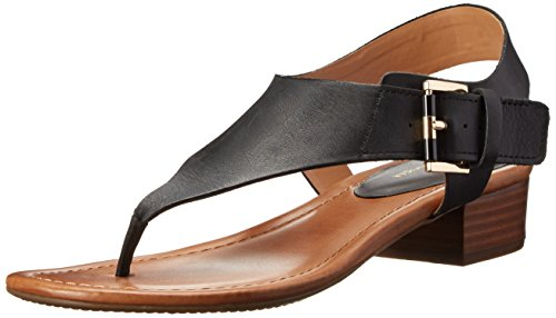 Tommy Hilfiger Women's Kitty dress Sandal, Black Leather, 8 M US by Tommy Hilfiger