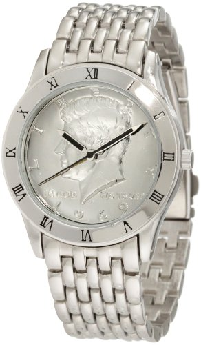 August Steiner Men's CN004S-AS Round Kennedy Half Dollar Silver-tone Bracelet Watch