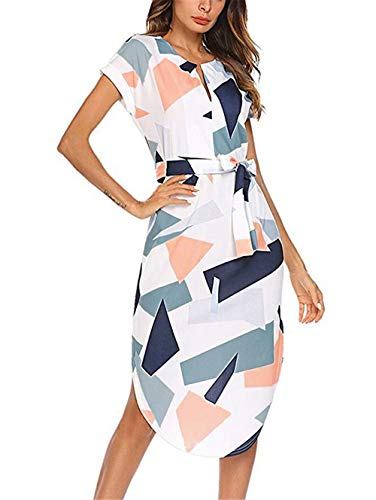 LitBud Womens Dresses Summer for Women Ladies Short Sleeve Casual Vintage Office Party Holiday Belted Shift Midi Tunic Dress Pink Size 8 10 L -