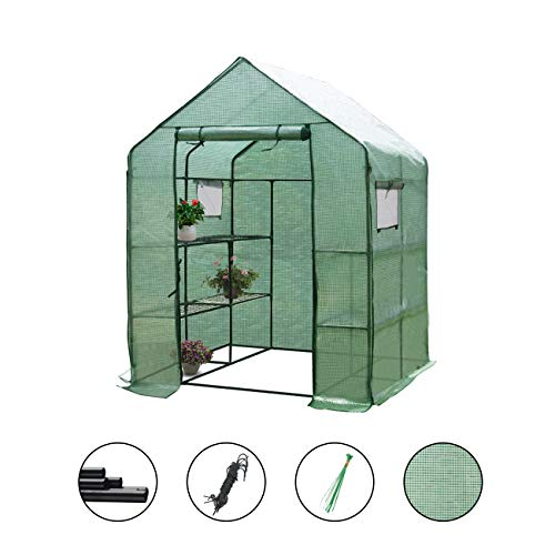 "Large Walk-in Greenhouse with PE Cover 57"" L x 57"" W x 77"" H, 3 Tier 8 Shelves,Window Version and Roll-Up Zipper Door, Waterproof Cloche Portable Green House,Outdoor Gardening Organic Greenhouse"
