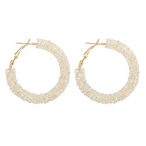 (Women's Geometric Charm Hoop Earrings Big Round Circle Hoop Earrings Vintage Shiny Sequin Crystle Rhinestone Hoop Bangle Hypoallergenic Pierced Hasp Earrings Fashion Jewelry Gifts (White))