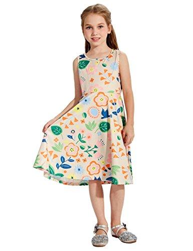 Uideazone Little Girls Print Floral Cute Sleeveless Dress Summer Clothes 8-9 -