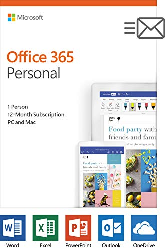 Microsoft Office 365 Personal | 1-year subscription, 1 user, PC/Mac Key Card (Microsoft Office Product Key)