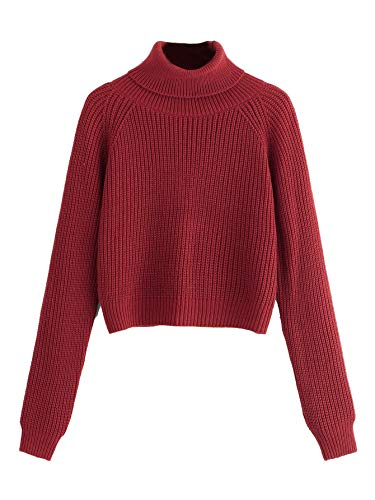 Milumia Women Turtleneck Long Sleeves Fall Winter Sweaters Crop Tops Basic Jumpers