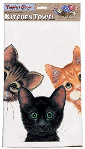 Fiddler's Elbow Peeping Toms 3 Cats Kitchen Towel | 100% Cotton XL Kitchen Towel 22
