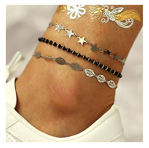 CanB Crystal Anklet Silver Anklets Bracelet Star Beach Jewelry Delicate Foot Chain Festival Anklets Summer Ankle Bracelets for Women Girls