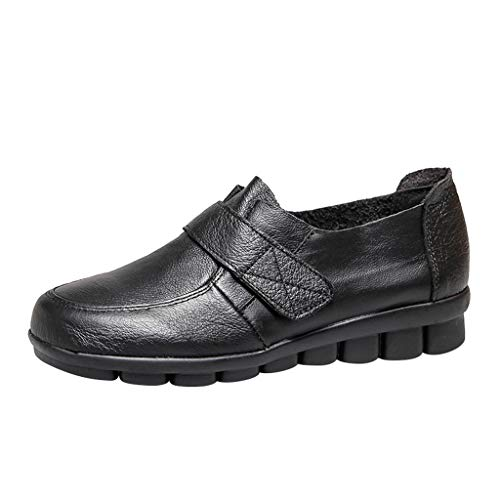 Goddessvan 2019 Leather Flats Loafers for Women Comfy Slip-on Shoes Casual Moccasins Hook Loop Flat Sneakers Black