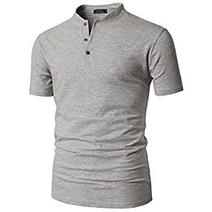 H2H Mens Henley Mock Neck Short Sleeve T Shirts Perfect For Team Sports Gray US M/Asia L (KMTTS0563)