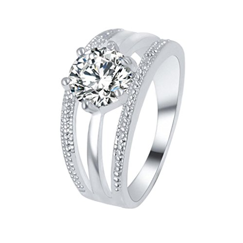 (Botrong Women Wedding Engagement Ring Crystal Jewelry Rings (Ring Size 7, Silver))