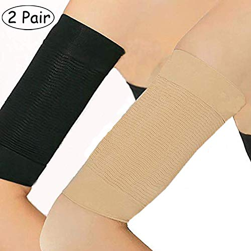 2 Pair Arm Slimming Shaper Wrap, Arm Compression Sleeve Women Weight Loss Upper Arm Shaper Helps Tone Shape Upper Arms Sleeve for Women (Beige + Black)