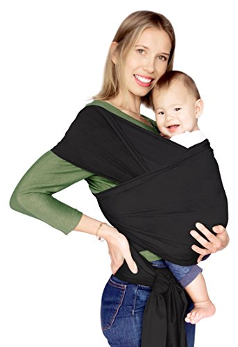 Baby Wrap Carrier - Baby Sling Kangaroo Wrap for Infant and Newborn - Ultra Soft Peruvian Cotton - Black. Use on Both Sides - Reverses in Black with Steel Grey Pocket. Fits Plus Sizes. ()