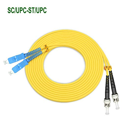 (EB-LINK 5M SC to ST Fiber Optic Patch Cord Jumper Cable Duplex Single-Mode 9/125 OS1 OS2 SC-ST,5 Meters 16.4ft Yellow)